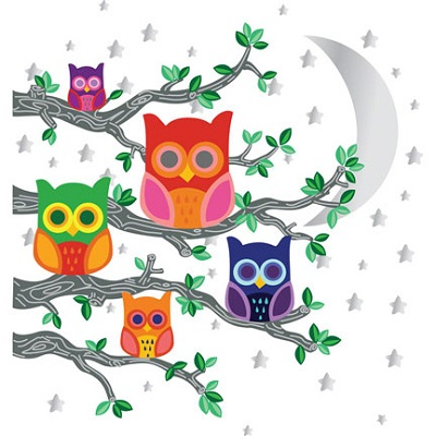 Muursticker Owls