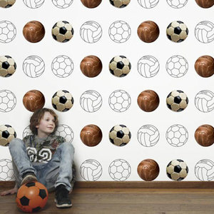 Tinkle&Cherry voetbalbehang wit